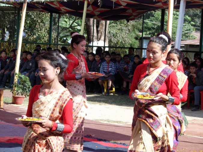 Deaf students of the school dance to a Bihu song.